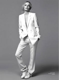 Kate Bosworth does minimal chic in a white suit // shot by David Roemer for Marie Claire UK