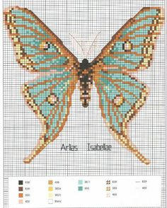 Butterfly cross stitch and chart. Gold/blue green.