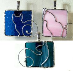 ✿ Inspiration ✿ ∙∙∙  Cat Lover Cute Tiffany Stained Glass & Wire Soldered Pendant or Charm Necklace Wacky Wire Design via Etsy