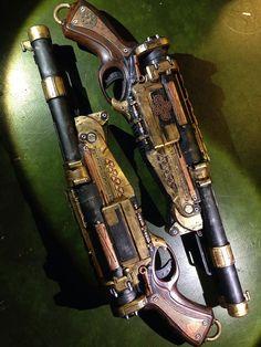 Double Barrel Airship pirate pistol Spray painted nerf gun steampunk prop gun cosplay