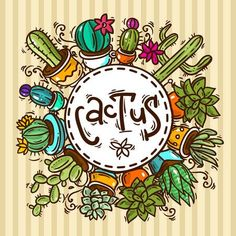 Beautiful hand drawn vector illustration cactus and succulents. - Beautiful hand drawn vector illustration cactus and succulents. Succulents Drawing, Cactus Drawing, Cactus Art, Cacti And Succulents, Cactus Doodle, Succulent Planters, Succulent Arrangements, Hanging Planters, Cactus House Plants