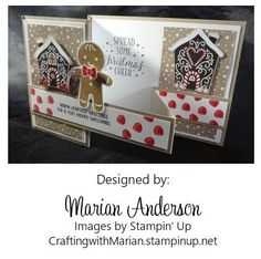 Cookie Cutter Christmas Z-fold card - Stampin' Up set #142043 and Stampin Up punch #140396.