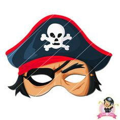 Childrens Printable Pirate Mask - Red | Simply Party Supplies Printable Masks, Printables, Half Mask, Printer Paper, Hole Punch, Print And Cut, Pirates, Yellow, Blue