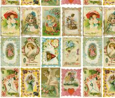 Vintage Valentines  fabric by i_will_fly on Spoonflower - custom fabric