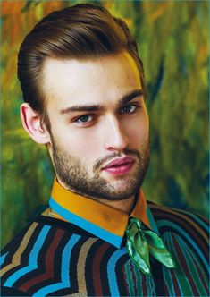 Douglas Booth is front and center in a colorful look from Salvatore Ferragamo.