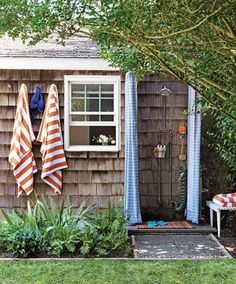 outdoor shower ideas | This very picture has been on my project wall for the old man, one day...