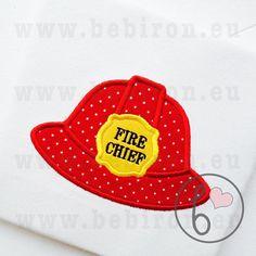 Fireman Helmet Hat Fire Chief Boys Applique by BebironApplique