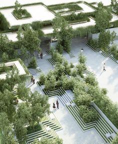 Penda cria projeto paisagístico inspirado em antigas escadarias indianas,Cortesia de penda