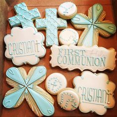 Some fun (and quick) first communion cookies for a sweet little boy