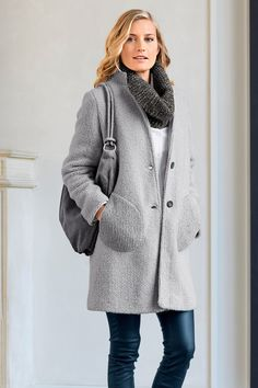 Heine Wool Blend Coat at EziBuy New Zealand. Buy women's, men's and kids fashion online. Kids Fashion, Fashion Outfits, Tailored Trousers, Online Clothing Stores, European Fashion, Everyday Outfits, Old Women, Wool Blend, Gray Coat