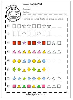 Series matemáticas para niños infantil Primaria - ejercicios de lógica gratis EDUCAPLANET