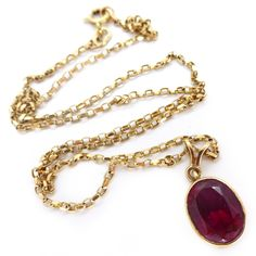 Vintage 9ct Gold Chain Faceted Ruby Pendant Necklace | Clarice Jewellery | Vintage Jewellery | Vintage Costume Jewellery