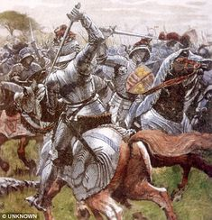1485 Bof Bosworth field -A painting of the original Battle of Bosworth field 1485 Medieval World, Medieval Knight, Medieval Armor, Medieval Fantasy, Tudor History, British History, Military Art, Military History, Battle Of Bosworth Field