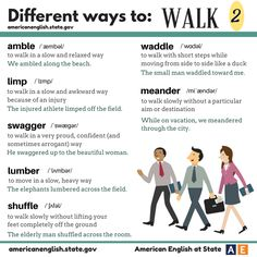 we posted about different ways to walk. Here are more words to use for different ways to walk! #AmericanEnglish