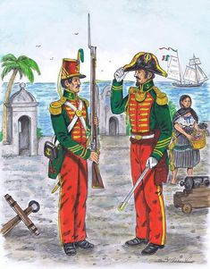 Drawn by Mr. Alan Archambault, this drawing depicts the Mexican Marine infantry during the Mexican American war. Mexican Army, Mexican American War, Military Art, Military History, American Uniform, Mexican Paintings, Navy Uniforms, War Of 1812, Historical Art