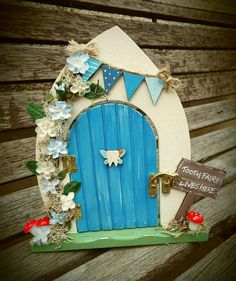 Custom made to order and decorated by hand. Can be personalised Hand-painted, wooden, … Diy Fairy Door, Fairy Doors, Diy Door, Door Crafts, Frame Crafts, Craft Stick Crafts, Wooden Craft Sticks, Wooden Crafts, Tooth Box