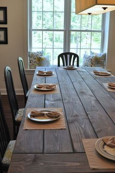 I love this blog post Dining Room Table Tutorial found on Our