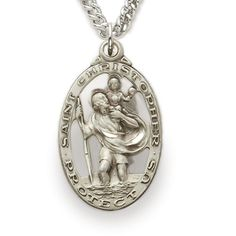 Sterling Silver Oval Pierced St. Christopher Medal http://www.truefaithjewelry.com/sm0516sh.html