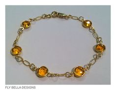 Gold Filled Swarovski Crystal Topaz November by FlyBellaDesigns, $35.00
