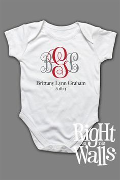 Baby Onesie Fancy Monogram Letters Custom by RightOnTheWalls, $14.95