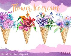 Watercolor Flowers Clipart Floral Clip Art Ice Cream Bouquet Icecream Summer Mint Violet Romantic Bridal Shower Wedding watercolor floral
