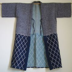 Sashiko Stitched, indigo dyed cotton coat.