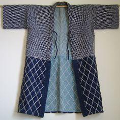 Sashiko Stitched, indigo dyed cotton coat.