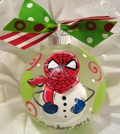 Spiderman Snowman Christmas Ornament by SassyfrasDesignz on Etsy, $19.99