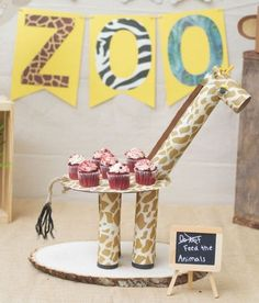 4 Fun Zoo-Themed Party Crafts for Kids (and 1 for Mom) · Kix Cereal Kids Crafts, Toddler Arts And Crafts, Jungle Party, Safari Party, Porta Cup Cakes, Cereal Box Craft For Kids, Diy Paper, Paper Crafts, Giraffe Crafts