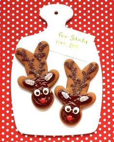 Turn gingerbread men upside down to make gingerbread reindeer.