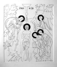 Baptism Of Christ, Byzantine Icons, Religious Icons, Epiphany, Christian Art, Trinidad, Coloring Pages, Cartoons, Creations
