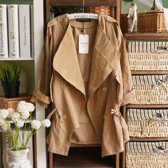 春秋季女装 韩版休闲双排扣大翻领中袖薄款系带宽松女式风衣外套