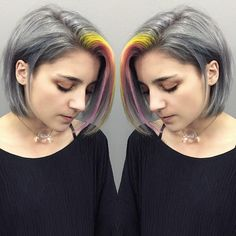 New hair pink pastel grey Ideas Hair Color 2016, Bold Hair Color, Bright Hair Colors, Pastel Colors, Pastels, Love Hair, Great Hair, Yellow Hair, Grey Yellow