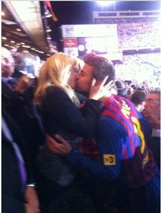 Pique and Shakira celebrating cup win
