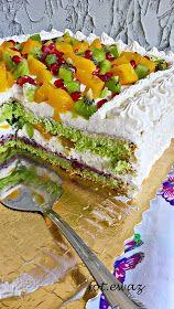 Ewa w kuchni: Tort z kiwi, brzoskwiniami i granatem Kiwi, Camembert Cheese, Sandwiches, Tacos, Baking, Cake, Ethnic Recipes, Desserts, Food