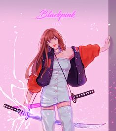 """lisa would be such a fierce fighter! 👊 couldn't let go of the katana scene and combined it with my fav outfit ✨ Jimin Fanart, Kpop Fanart, K Pop, Blackpink Square Up, Manga Anime, Black Pink, Kpop Drawings, Art Friend, Blackpink Lisa"