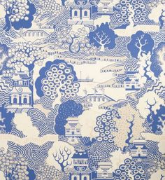 Osborne Little: Summer Palace A chinoiserie landscape, reminiscent of willow pattern porcelain, also dates from Osborne Little's earliest collections of hand prints. And C wonder wallpaper! Chinoiserie Wallpaper, Chinoiserie Chic, Fabric Wallpaper, Oriental Wallpaper, Asian Wallpaper, Chinese Wallpaper, Scenic Wallpaper, Bathroom Wallpaper, Japanese Patterns