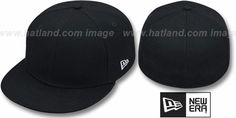 New Era '59FIFTY-BLANK' Solid Black Fitted Hat : pictured without stickers that these products are shipped with