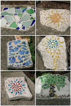 Cool mosaic stepping stones and rocks Mosaic Rocks, Mosaic Stepping Stones, Pebble Mosaic, Mosaic Art, Mosaic Glass, Paving Stones, Mosaic Crafts, Mosaic Projects, Mosaic Designs