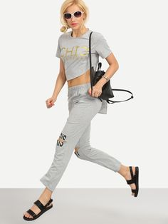 Shop Letter Print Asymmetric T-shirt With Ripped Pants - Grey online. SheIn offers Letter Print Asymmetric T-shirt With Ripped Pants - Grey & more to fit your fashionable needs.