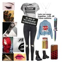 """""""teenage bad girl #1"""" by day-dreamer-girl ❤ liked on Polyvore featuring Topshop, Religion Clothing, OPI, Venom, Athra Luxe, Le Qarant, Casetify and High Heels Suicide"""