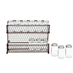 Rustic Dual Tier Wire Spice Rack Storage Organizer (Kitchen Countertop or Wall Mount) w/ 12 Glass Spice Jars MyGift,http://www.amazon.com/dp/B00IB15ENI/ref=cm_sw_r_pi_dp_iRAutb1Z0ZW5HK1N