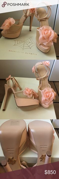 Charlotte Olympia Fleur Heels SZ 36.5 BNIB Gorgeous AUTHENTIC Charlotte Olympia Blush Fleur heels. Handmade in Italy. Shoes have never been worn. Brand new. They come in box with 2 dust bags and extra risers. I have original receipt. Charlotte Olympia Shoes Platforms
