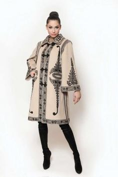 """SUMAN ROMANESC - METROPOLITAN. Old traditional Romanian overcoat named SUMAN, from fabric """"pănură"""" or """"aba"""" decorated with """"găitane"""" Elegant Dresses For Women, Unique Dresses, Stylish Dresses, Folk Fashion, Womens Fashion, Mexican Dresses, Jacket Pattern, Embroidery Dress, Modest Fashion"""