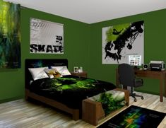 Skateboard Green Bedroom Theme featured at http://www.visionbedding.com/Skateboard-Green_Bedroom-rm-13336
