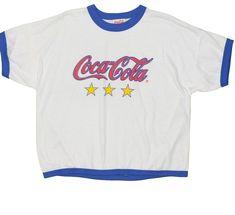 7d8caf90 Vintage Coca-Cola Men's T-Shirt Medium Made USA Navy Ringer Crop Top 1980's