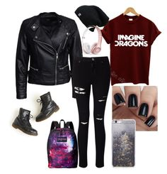 """""""Imagine Dragons (band tee outfit)"""" by caitlinmckoy ❤ liked on Polyvore featuring Dr. Martens, INDIE HAIR, Sisters Point, Miss Selfridge, JanSport, Skinnydip and Beats by Dr. Dre"""