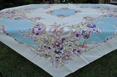 "vintage tablecloth with label ""LB"" printed by hand"" mid century flowers"