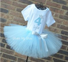 Baby Blue and Silver Birthday Crown Tutu Outfit...Cinderella birthday outfit...www.ticklemytutu.com
