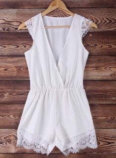 Chic Plunging Neck White Lace Spliced Sleeveless Romper For Women